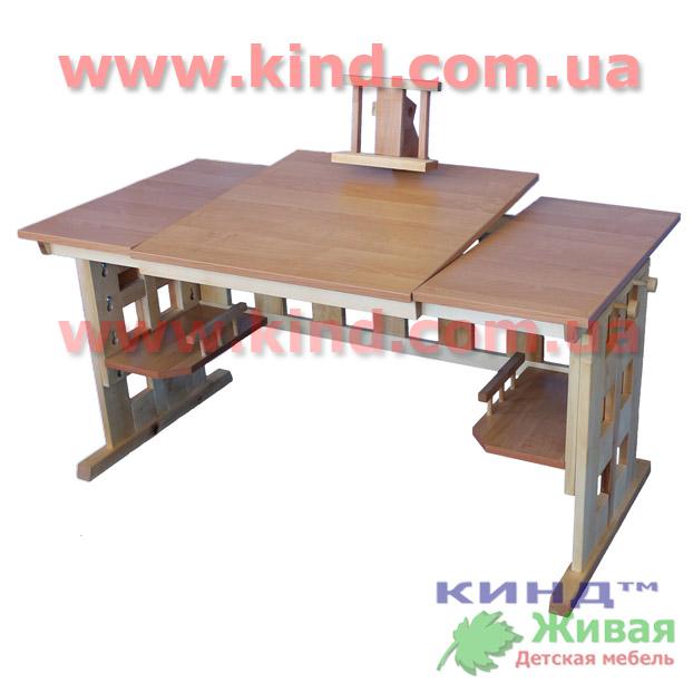 Детский деревянный стол с раздельной столешницей