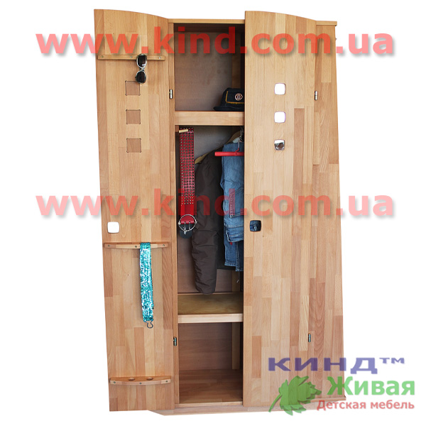 Деревянная двухъярусная кровать шкаф