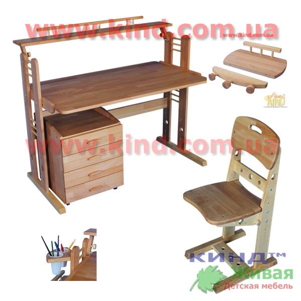 Деревянные регулируемые парты и стулья